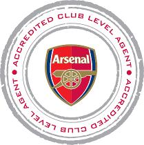 Sportenrejser.dk er officiel billetagent hos arsenal. Logo fra Arsenal der viser vi må sælge fodboldrejser til Arsenal og Arsenal fodboldbilletter