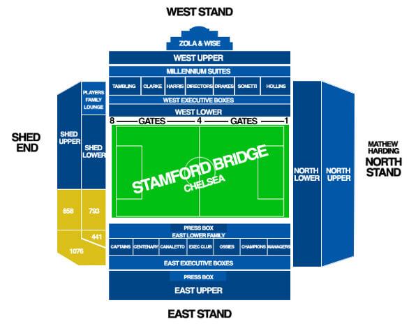 Stamford Bridge stadium plan - få overblikket på fodboldrejser til Chelsea fodboldbilletterne