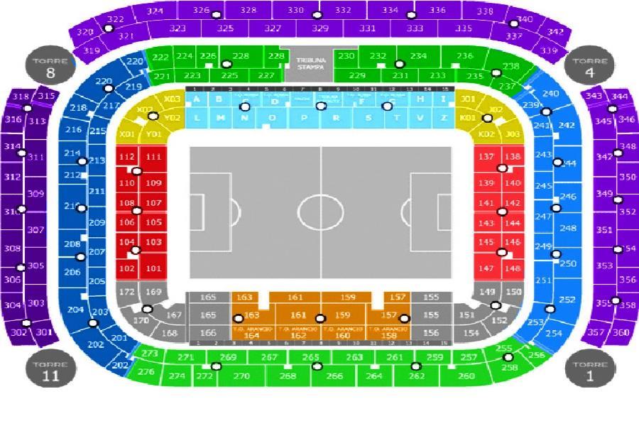 San Siro Inter Milian stadionplan med fodboldbillet oversigt