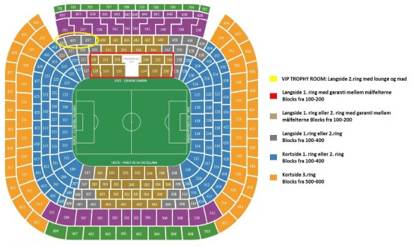 Stadionplan for Bernabeu med fodboldbillet til real madrid